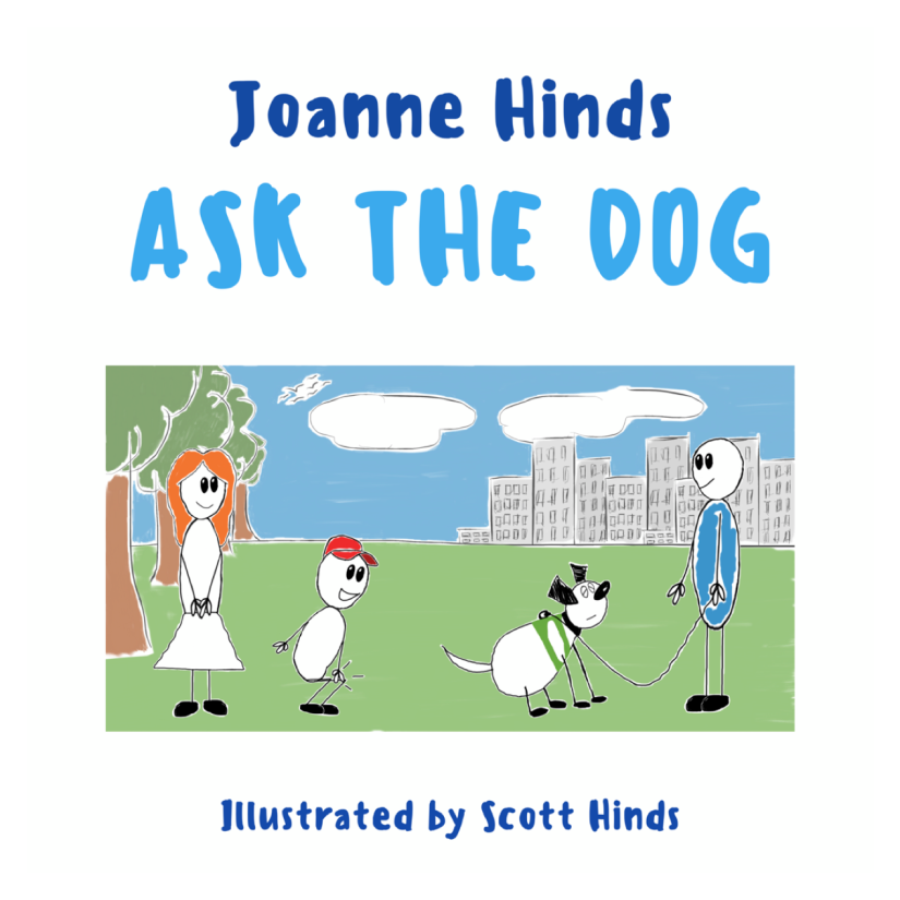 Ask the dog by Joanne Hinds cover page mum and son asking a owner and the dog whether they are happy to be stroked