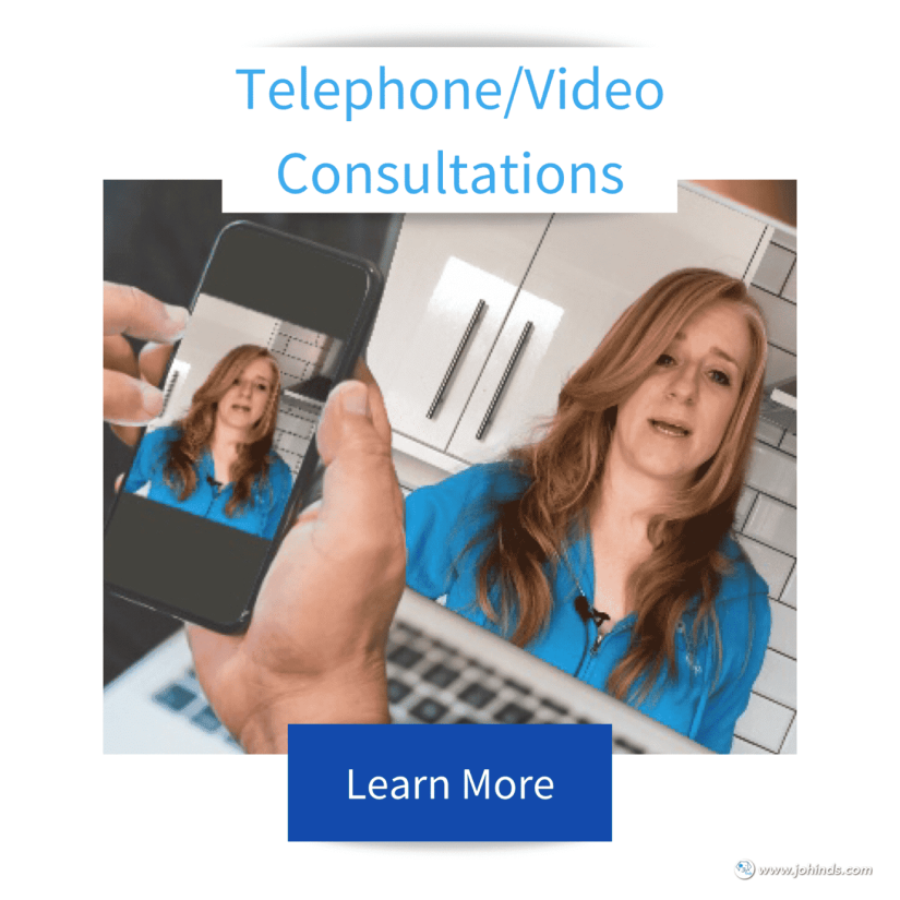 Tile with Telephone and video consultations at the top in blue and image of Jo Hinds Dog Trainer and Behaviourist on the laptop and phone screen infront of someone with learn more button on the bottom of the image.